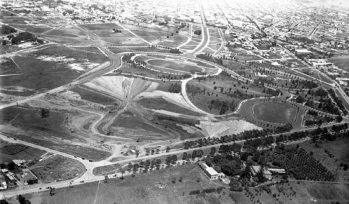 Vista aérea del Parque Batlle. Año sin datos (Foto 162e FMH.CMDF.IMM.UY)